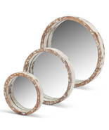 Assorted-Size, Nested, Round Wooden Mirrors with Cream Worn Wood Rims (S... - $128.69