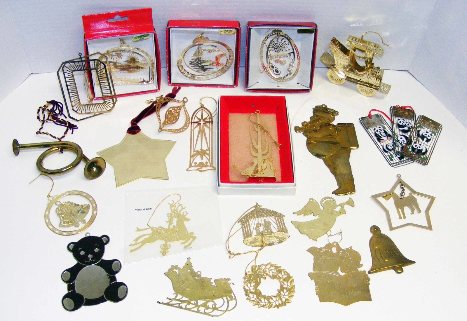 Primary image for LARGE LOT of BRASS CHRISTMAS ORNAMENTS