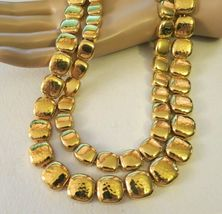 """Monet Necklace Gold Plated Double Links 17"""" Designer Square Hammered NICE image 5"""
