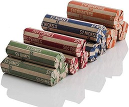 J Mark 400 Neatly-Packed Flat Coin Roll Wrappers Assorted, Made in USA, ... - $10.74