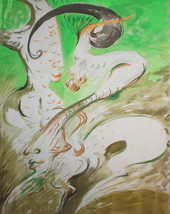 1991 Abstract futurist portrait watercolor drawing signed - $99.00