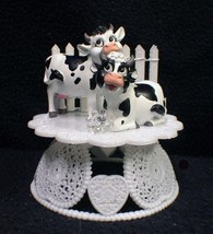 COW Wedding Cake Topper animal Country Western Barn Moo Farmer Fence Fun... - $46.43