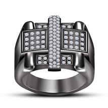 Men's 925 Silver 14k Black Gold Finish Round White Simulated Diamond Band Ring - $120.30