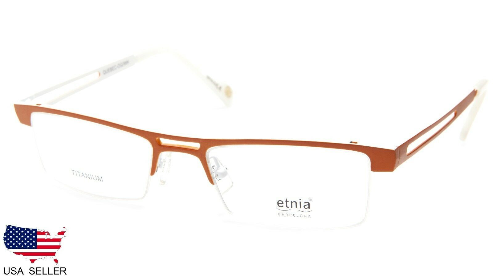 Primary image for NEW Etnia Barcelona QUEBEC-OG/WH ORANGE/WHITE EYEGLASSES 50-18-140 B27mm SPAIN