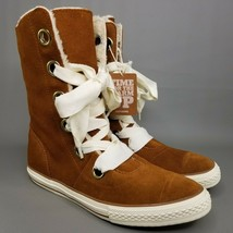Converse CTAS Beverly Suede Shearling 6-Eye Boots Womens Size 10 Brown White - $93.49
