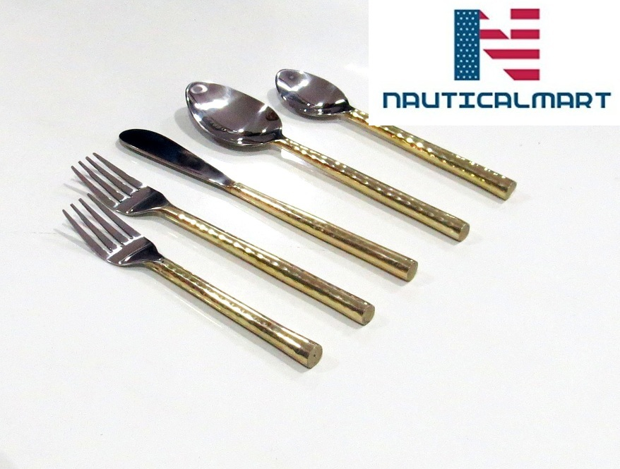 Primary image for Al-Nurayn Brass cutlery set,gold flatware,stainless steel cutlery Set Of 4