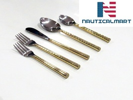 Al-Nurayn Brass cutlery set,gold flatware,stainless steel cutlery Set Of 4 - $99.00