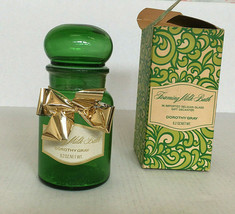 Vintage Dorothy Gray empty foaming milk glass container green Belgian glass - $24.70