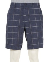 NWT MICHAEL KORS 38 navy linen blend shorts windowpane flat front $90 re... - $48.49