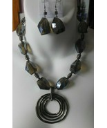 Vintage Heavy Greenish brown Multi-Faceted Glass Pendant Necklace & Earr... - $74.25