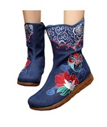 Vintage Beijing Cloth Shoes Embroidered Boots jeans 35 - $38.99