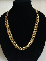 Vtg Runway Chain Necklace Designer Signed Monet Gold Double Link Stateme... - $19.79