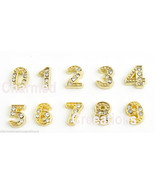 10pc Lot 0-9 Numbers Gold Tone Floating Charms For Glass Memory Locket N... - $7.91