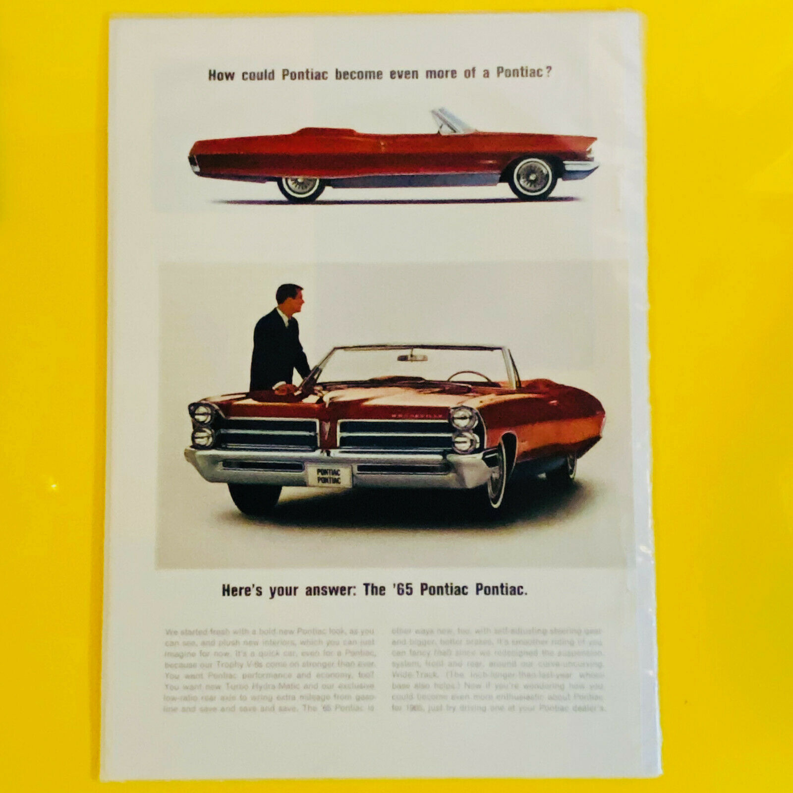 Primary image for Vintage 1965 Pontiac Bonneville Red Convertible Automobile Print Ad
