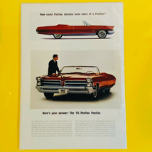 Vintage 1965 Pontiac Bonneville Red Convertible Automobile Print Ad - $9.85