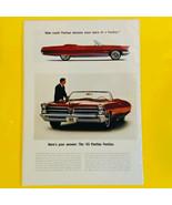 Vintage 1965 Pontiac Bonneville Red Convertible Automobile Print Ad - $9.85