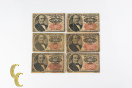 1874 US 25c Fractional Currency Lot of 6 Twenty Five Cents Fr#1308 & 1309 - $117.81