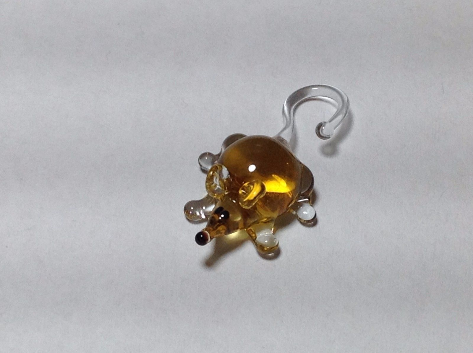 Miniature Glass golden mouse Handmade Blown Glass Collectible USA