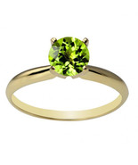 Womens Stylish 14K Solid Yellow Gold 6mm Round Peridot  Solitaire Ring A... - $143.89+