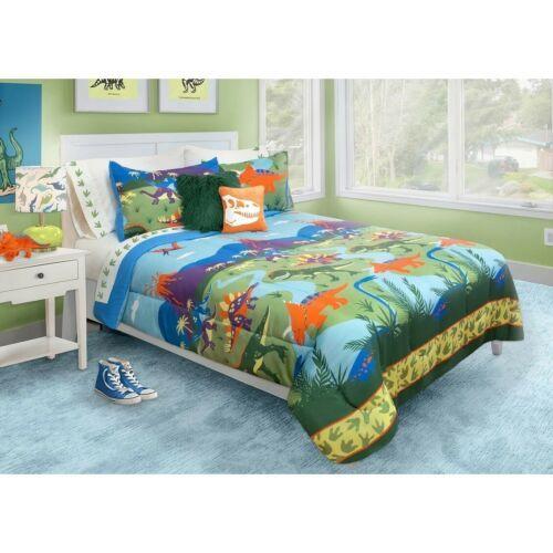 Boys Twin Full Bed Blue Orange Green Dinosaurs Volcano 3pc ...