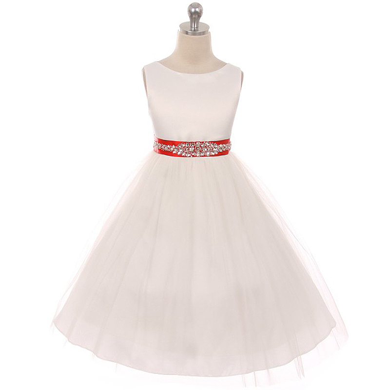 Ivory Bodice Soft Tulle Skirt Rhinestones Blush Satin Sash Flower Girl Dress