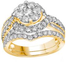 14kt Yellow Gold Round Diamond Flower Cluster Bridal Wedding Ring Set 2-1/2 Ctw - $3,499.00