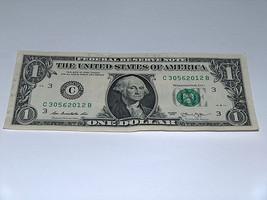 2013 $1 Dollar Bill US Note Date Year 2012 30562012 Fancy Serial Number - $9.31