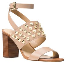 Michael Kors Oyster Reduced Valencia Studded Leather Sandal Pumps,NWT $170 - $120.00
