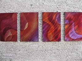 Abstract metal wall art 4 piece set Red sculpture by Artist Holly Lentz - $99.00