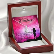 Daughter Gift Daughter is Dad's Miracle Eternity Ribbon Stone Pendant 14k White  - $52.20+