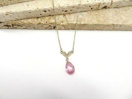 Vintage Sterling Silver Pink Crystal Teardrop Rhinestone Necklace H53 - $21.99