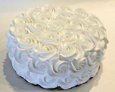 """Large White Rosette Wedding Fake Cake Display 9"""" Faux Cake"""