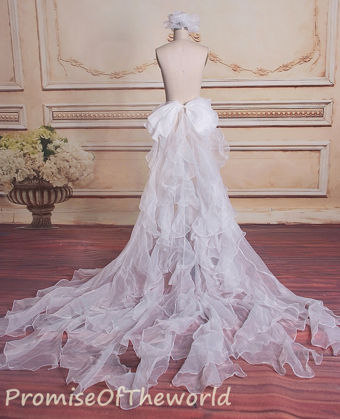 Ivory ruffles organza detachable train for wedding dress prom gowns bow-tie