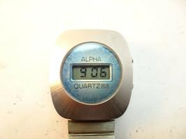RARE VINTAGE 1970'S ALPHA LCD QUARTZ BLUE FACE SOLID STATE WATCH RUNS GOOD - $149.00