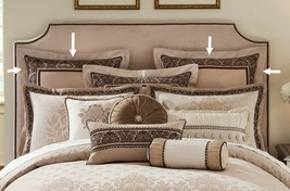 Waterford Linens Astor European Pillow Sham Shams Beige Taupe Set of 2 - $88.99