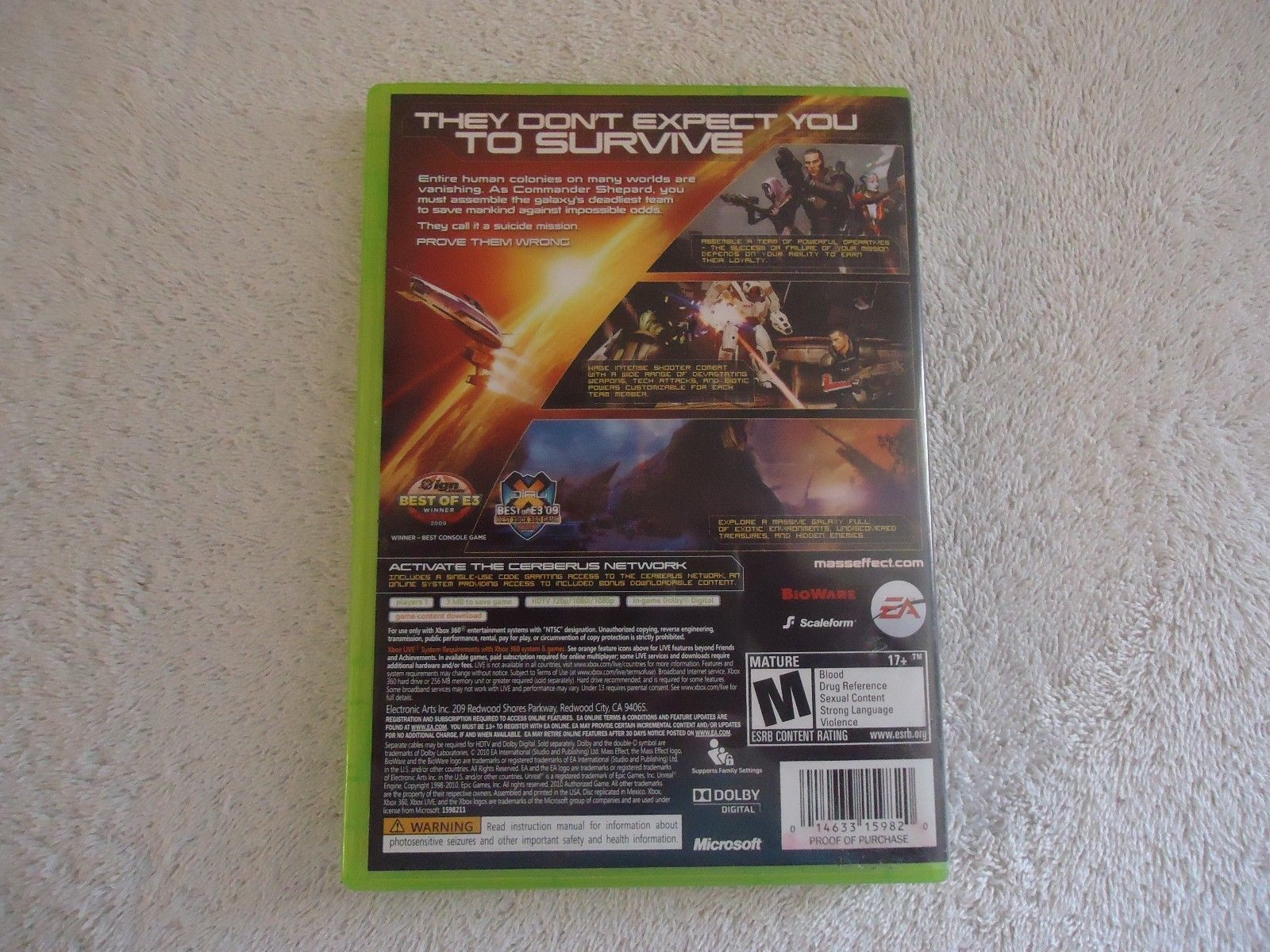 """Xbox 360 Xbox Live Mass Effect 2 Video Game """" GREAT ROLE PLAYING GAME """""""