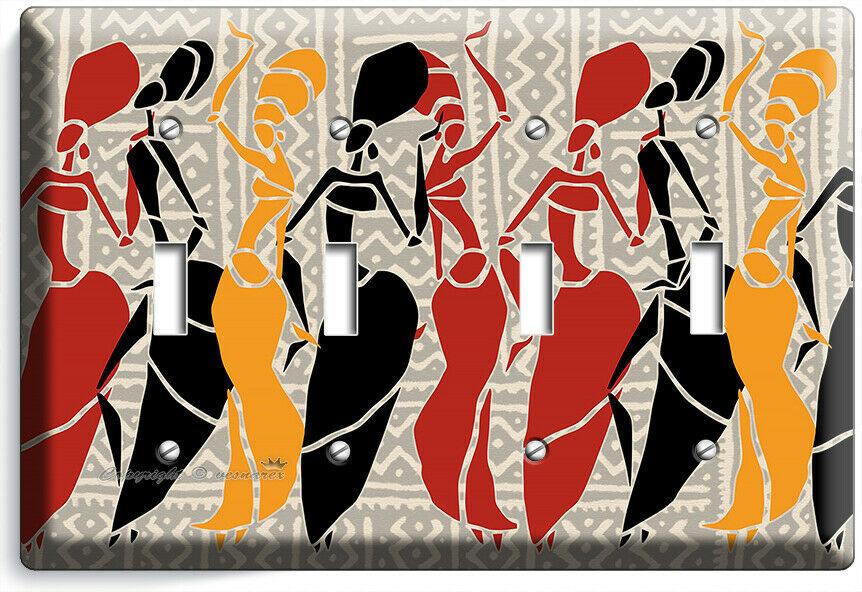 AFRICAN WOMEN TRIBAL DANCE 4 GANG LIGHT SWITCH WALL PLATE BEDROOM ROOM ART DECOR