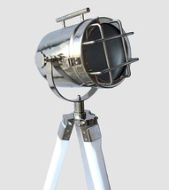 White tripod Floor lamp nautical wooden tripod searchlight home decor spotlight - $159.00