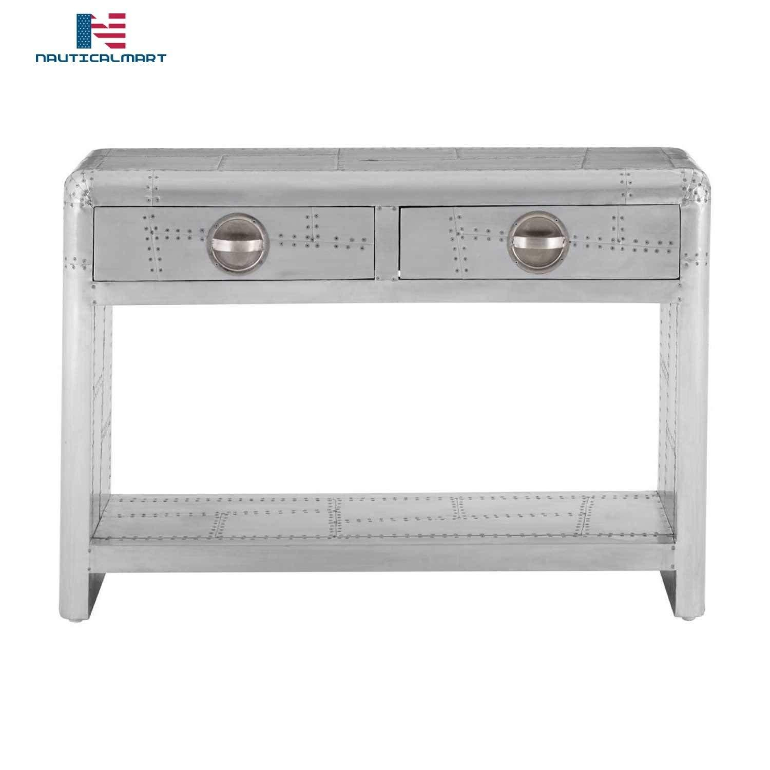 Primary image for NauticalMart Aviator Aluminium Patchwork Style Console Table with 2 Drawers