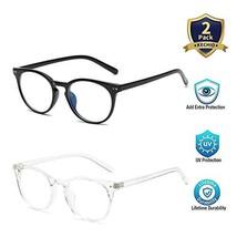 Round Blue Light Blocking Glasses Vintage for Women Men FDA Approved Ant... - $22.77