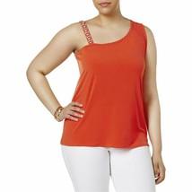 INC Womens Plus Tropic Heat Jeweled Sleeveless Blouse Orange 3X N7 - $9.53