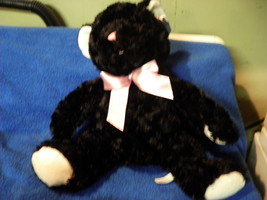 "APPLAUSE  PLUSH BLACK CAT W WHITE PAWS & EARS VGC CUTE 11.5"" TALL - $11.29"