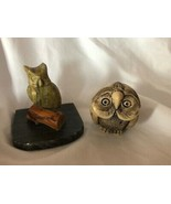 Mixed Lot 5 Different Owl Vintage Figurines White Owl - $49.49
