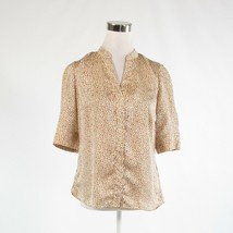 Light beige orange dots satin THE LIMITED 1/2 sleeve button down blouse S - $19.99