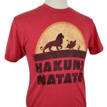 Lion King Hakuna Matata Disney T-Shirt Medium Red 50/50 Mufasa Simba Sca... - $14.09