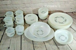 Set Of 37 Vintage Fire King Silver Wheat Dishes - $98.99