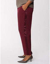 New Lane Bryant PULL-ON Pants With Satin Tuxedo Pants Stripe Burgundy 26 28 3X - $18.69