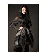 Goth Victorian Steampunk Gray Black Lace Knee Length Asymmetrical Ruffle... - $52.71