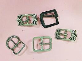 5 Vintage Tiny Mini Ribbon Belt Buckles Metal 2 Matching Fun 7/8 Inches  - $24.26