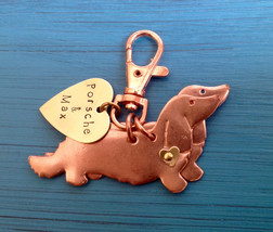 NEW Two Longhaired Dachshund Keychain. Doxie. Custom Copper Dachshund Jewelry. - $24.00